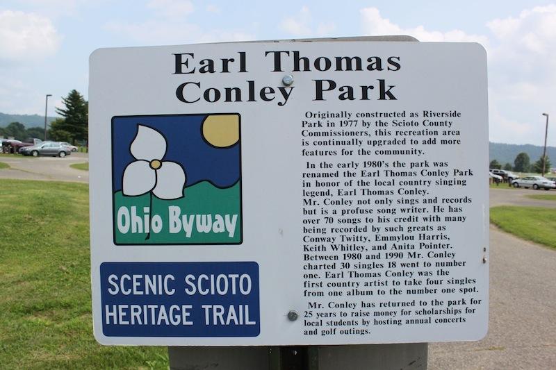 Earl Thomas Conley Park marker, Scenic Scioto Heritage Trail, Scioto County, Ohio (2012).