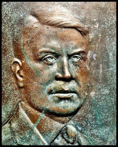 Gov. Harry Davis, detail from the Theodore Roosevelt Preserve Dedication Memorial, Shawnee State Park, Scioto County, Ohio (2012).