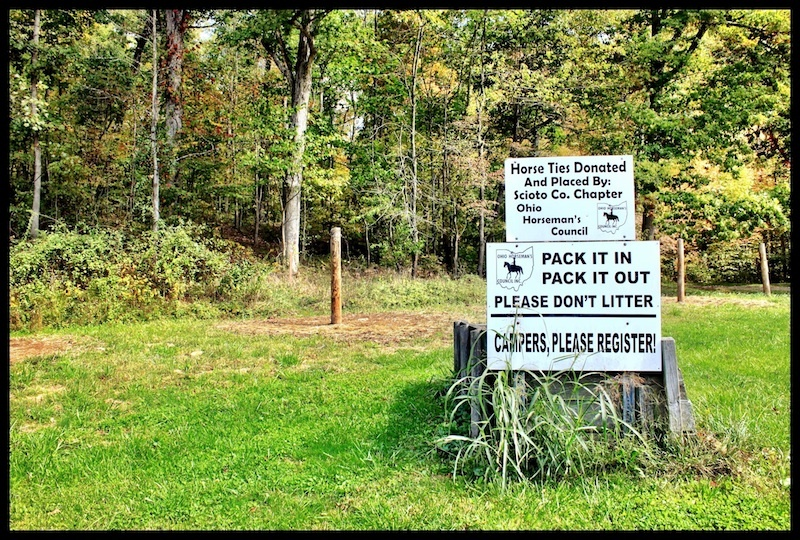 Ohio Horsemen's Council Signage, Bear Lake Horse Camp, Shawnee State Forest, Scioto County, Ohio (Fall 2012).