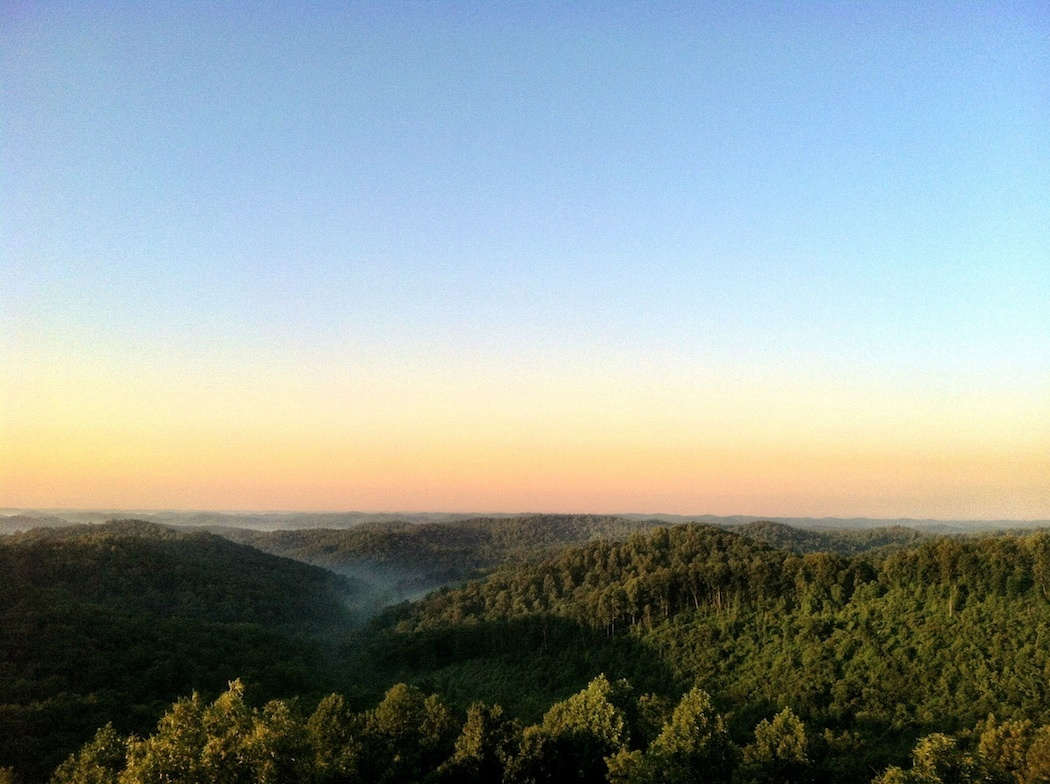 Solstice sunrise from Copperhead Fire Tower, looking south, Shawnee State Forest, Scioto County, Ohio (21 June 2013).