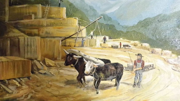 """Detail, """"Adams County Stone Quarry,"""" painting of unknown origin and date."""