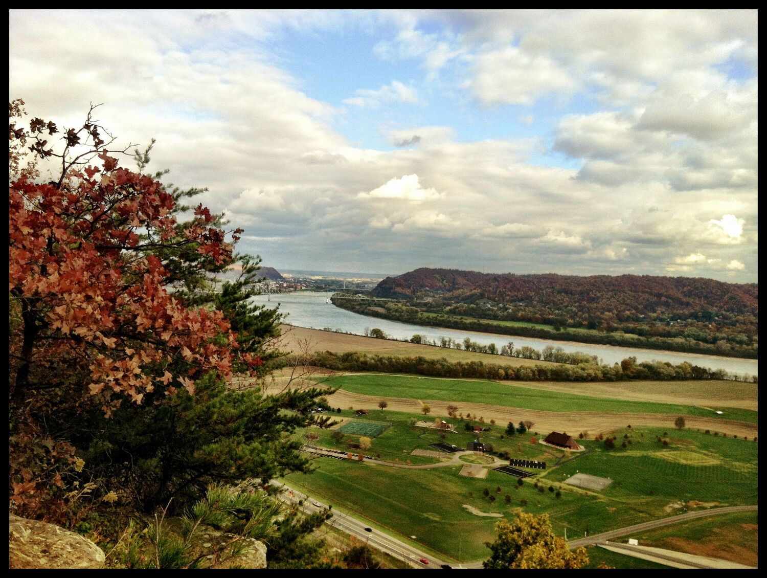 View of Riverside Park and the Allan Eckert Trail from Raven Rock, Scioto County, Ohio (Fall 2012).