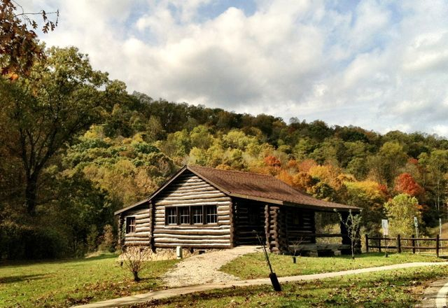 CCC Camp Shawnee No. 1 Cabin, relocated to the Shawnee State Park Nature Center (2012).
