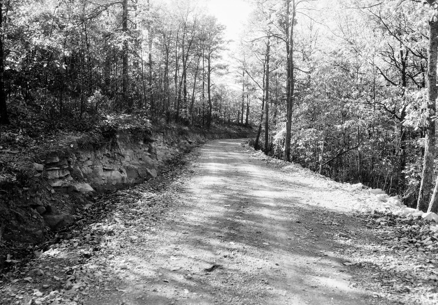 """Finished road on Mud Lick road,"" near CCC Camp Shawnee No. 2, Shawnee State Forest (November 1933)"