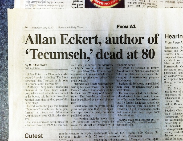 Allan Eckert Obituary, Portsmouth Daily Times (9 July 2011).
