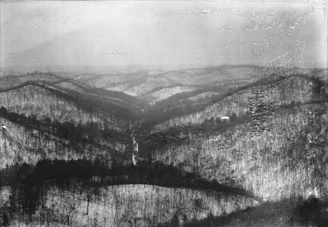 Snow covered view from Copperhead Fire Tower, looking south, Shawnee State Forest, Scioto County, Ohio (c. 1934)