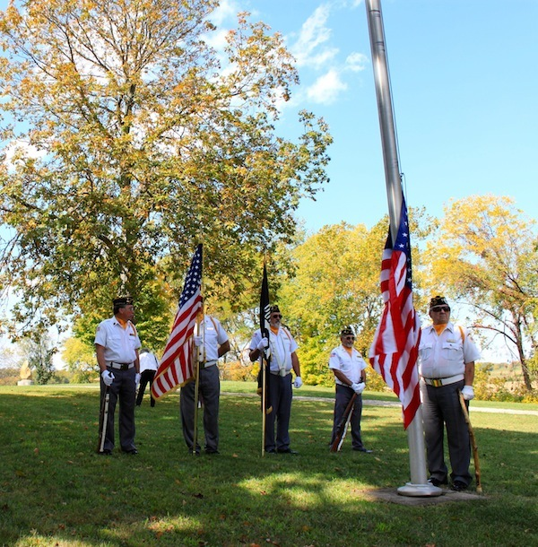 Color Guard, raising the American flag at the Logan Elm Centennial Celebration, Pickaway County, Ohio (30 September 2012).