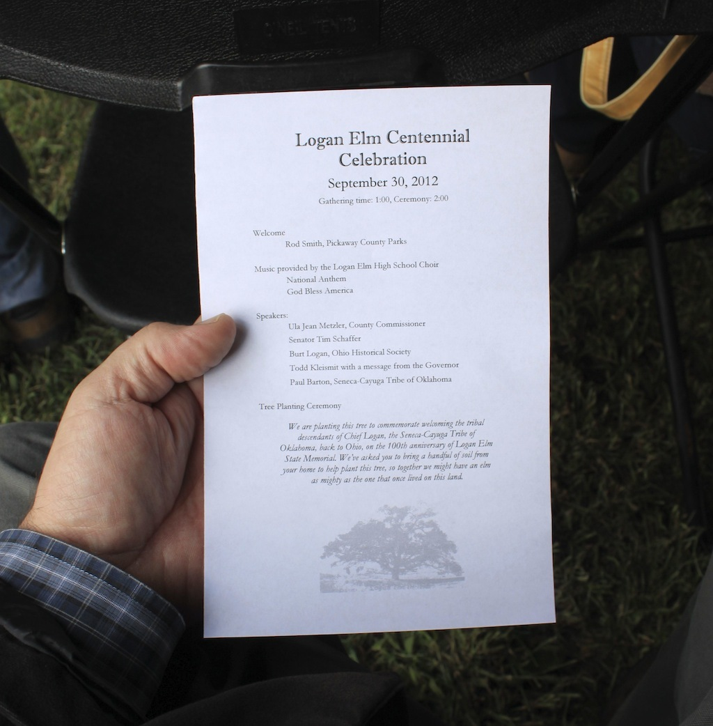 Program, Logan Elm Centennial Celebration, Pickaway County, Ohio (30 September 2012).