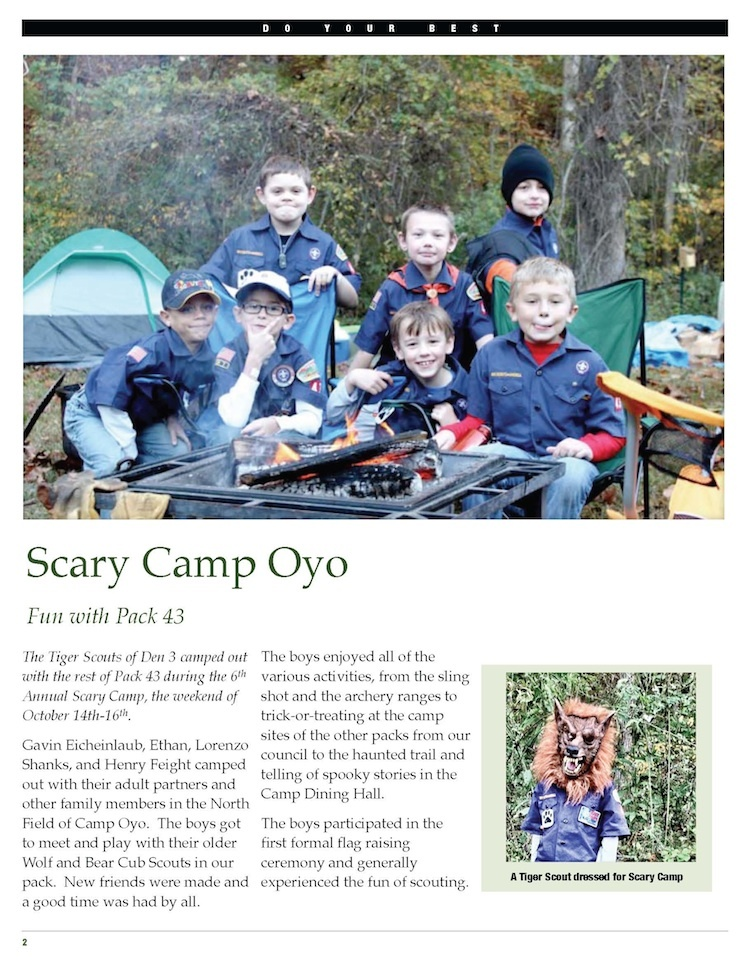 Tiger Cub Scouts at Scary Camp Oyo (October 2011).