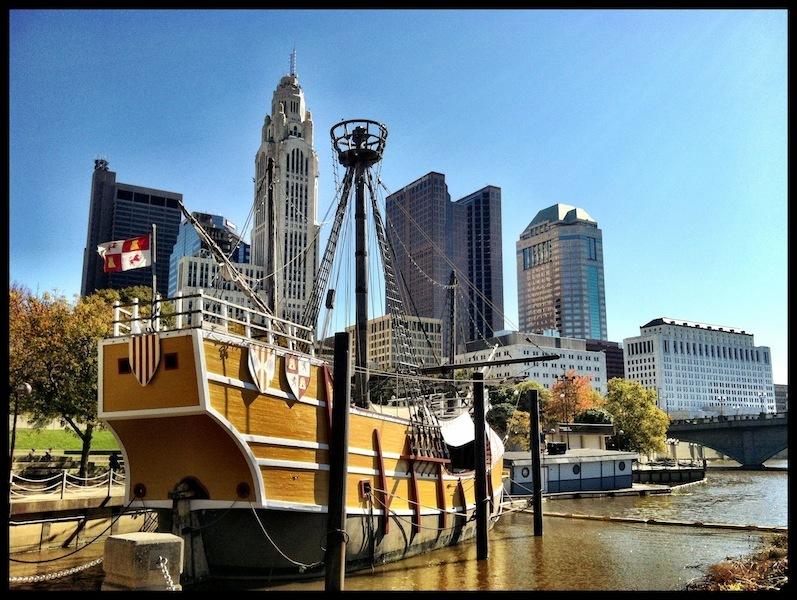 Replica of the Santa Maria, anchored in the Scioto River, Columbus, Ohio (October 2012)