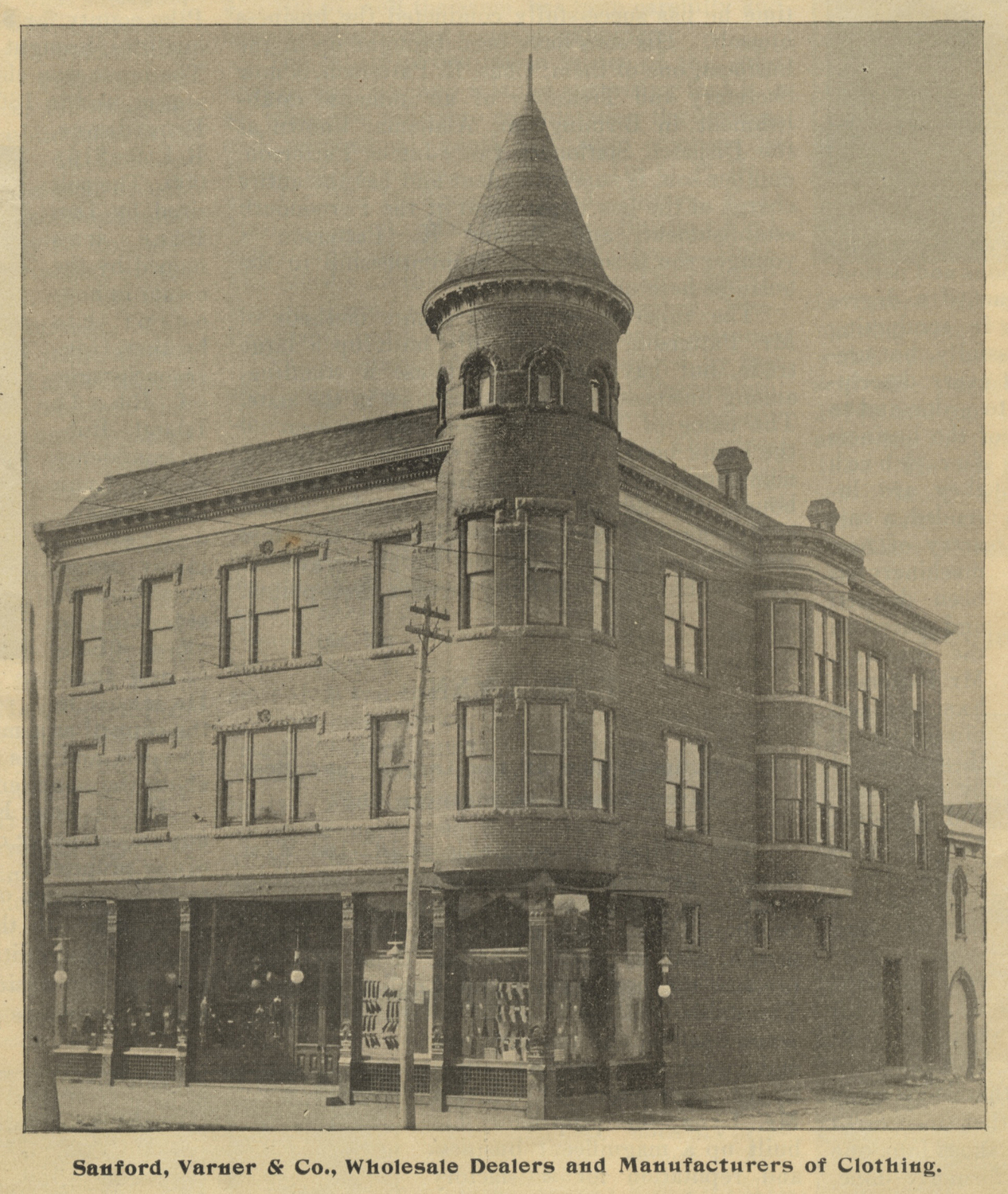 Sanford, Varner & Co. factory building, constructed in 1894, located at the southwestern corner of Third and Chillicothe streets.