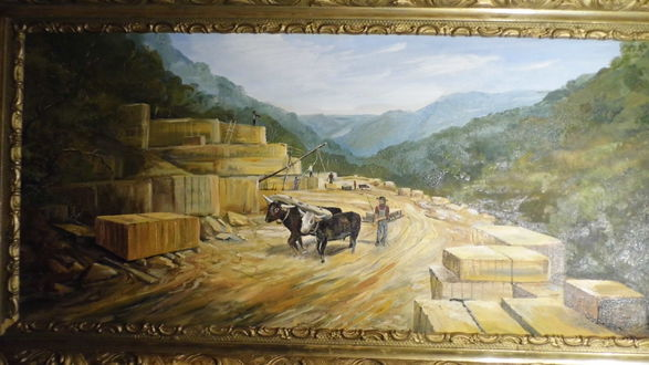 """""""Adams County Stone Quarry,"""" painting of unknown origin and date."""