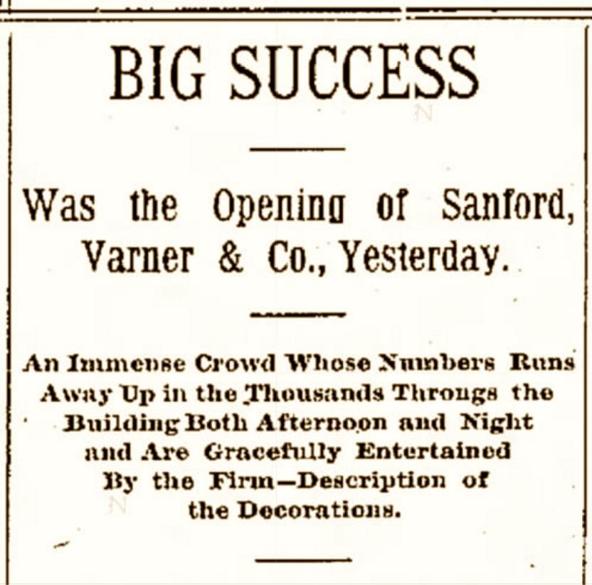 Opening Celebration of the Sanford, Varner & Co. Factory Building (27 November 1894).
