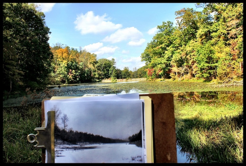 Re-photographing Bear Lake, Shawnee State Forest, Scioto County, Ohio (Fall 2012).