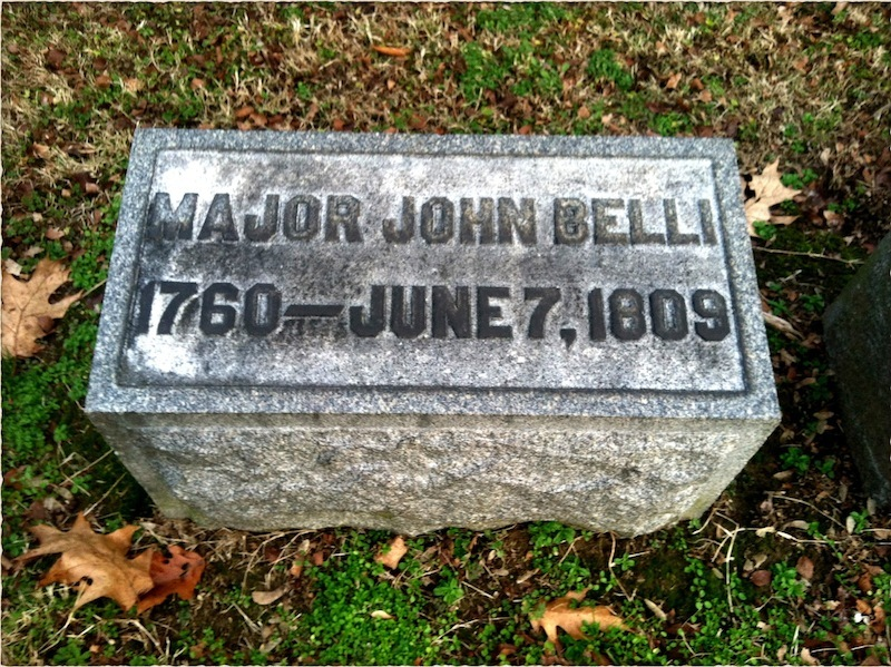 The headstone of Major John Belli (1760-1809), Greenlawn Cemetery, Portsmouth, Ohio, where he was reinterred in 1911.