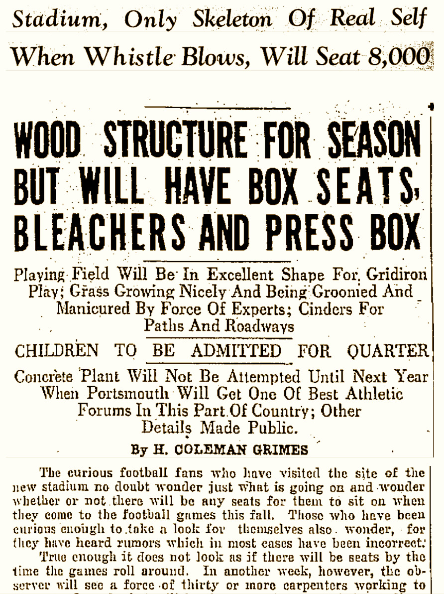 Portsmouth Times Reports on Stadium Construction and and Field Preparations for Opening Game (26 August 1930).