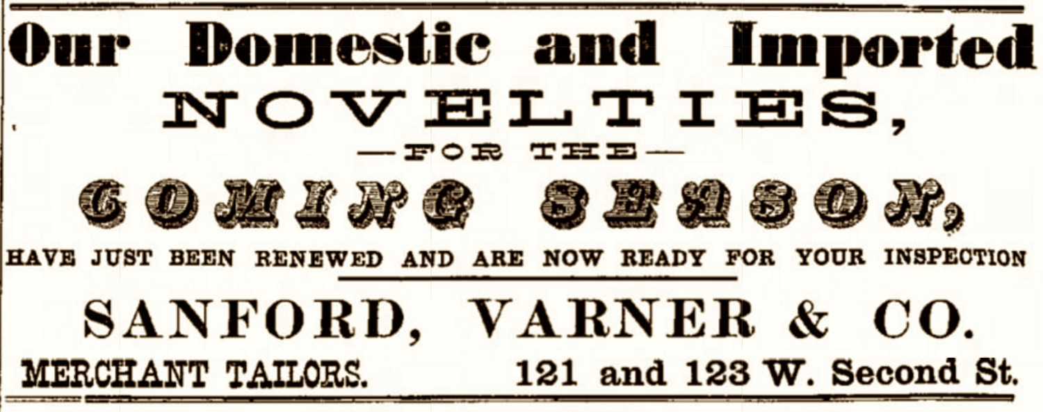 Sanford, Varner & Co. Advertisement from when their business was located at 121 and 123 West Second Street (1888)