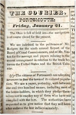 """Black Friday,"" documented in the <em>Portsmouth Courier.</em>"