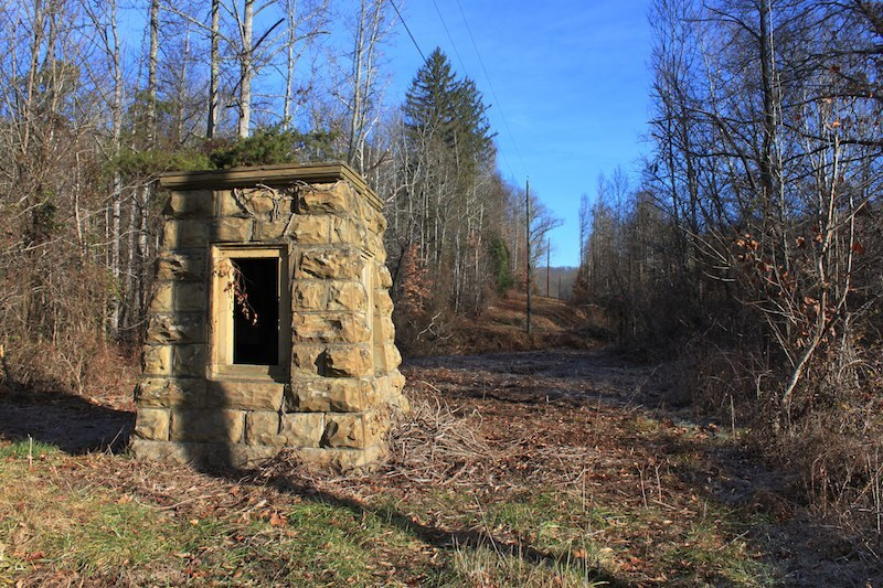 Roosevelt Preserve Memorial, built c. 1934 by the Civilian Conservation Corps, Shawnee State Forest, Scioto County, Ohio (2012).