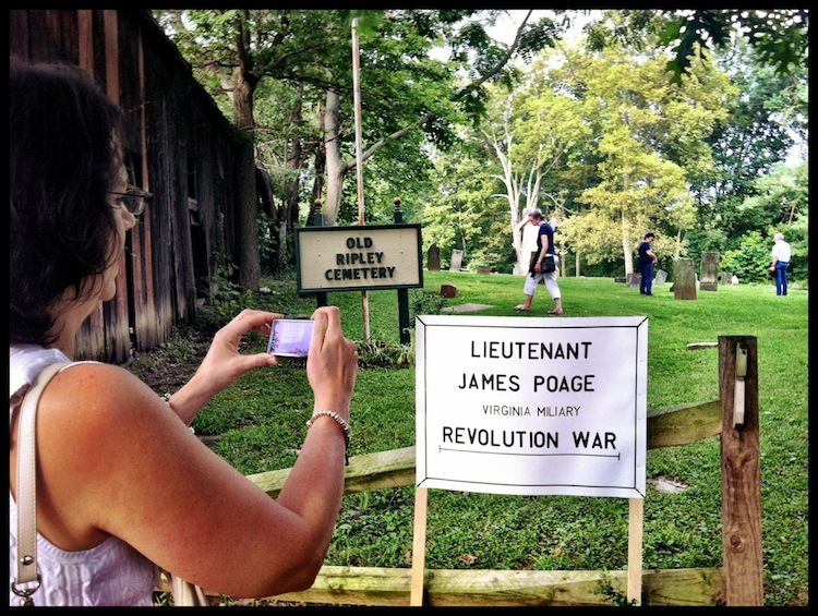 "Old Ripley Cemetery & ""Lieutenant James Poage, Virginia Military, Revolution War,"" Ripley Bicentennial Celebration (3 August 2012)."