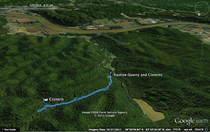Rendering of Hike from the Mouth of Vastine Run to the Central Incline and Cistern, Shawnee Wilderness Area, Adams County, Ohio, as viewed in Google Earth (9 May 2013).