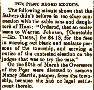 """The First Negro Exodus"" (1818)."