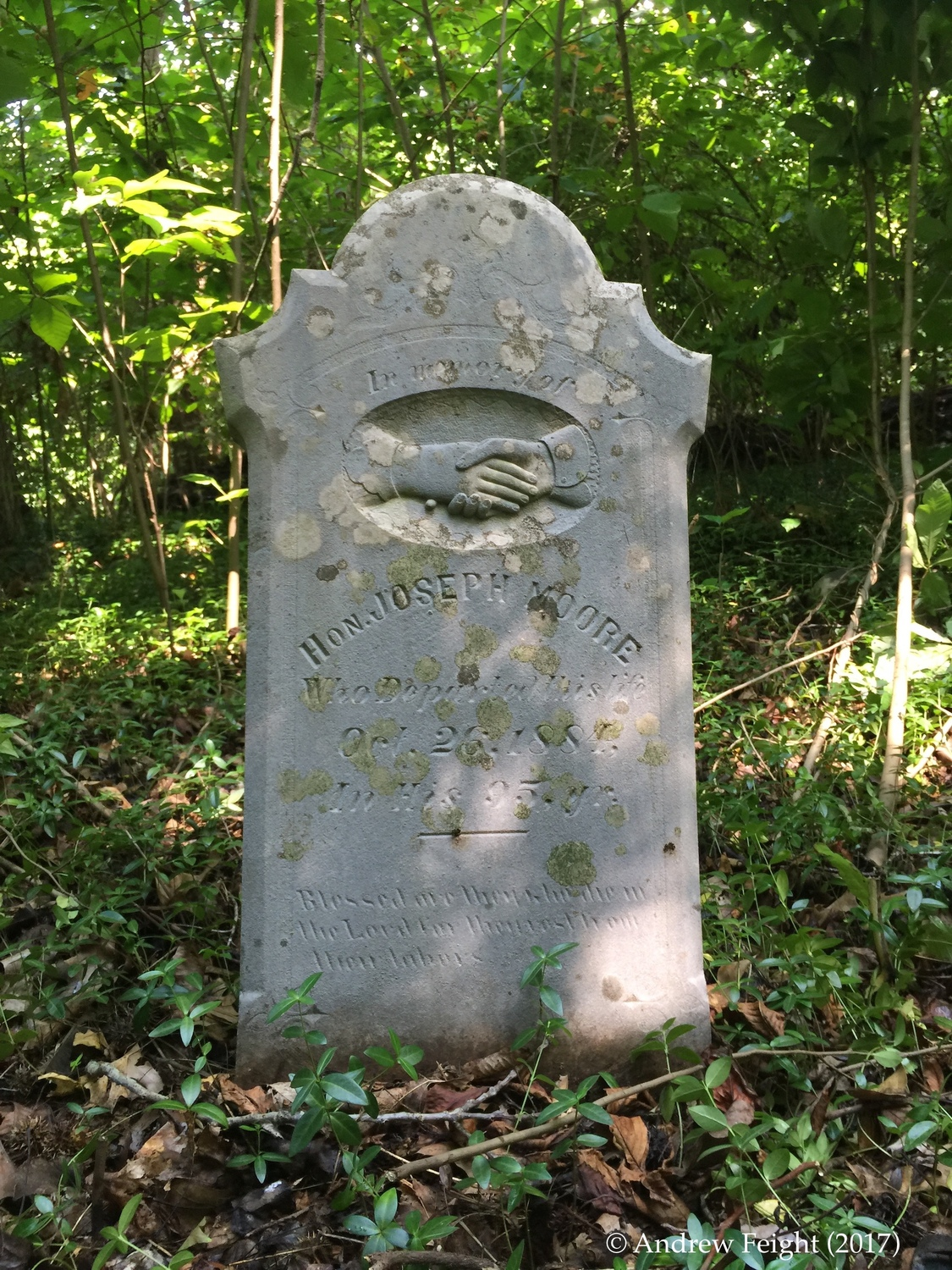 Headstone of Judge Joseph Moore, Mitchell-Morrison Cemetery, Shawnee State Forest, Scioto County, Ohio.