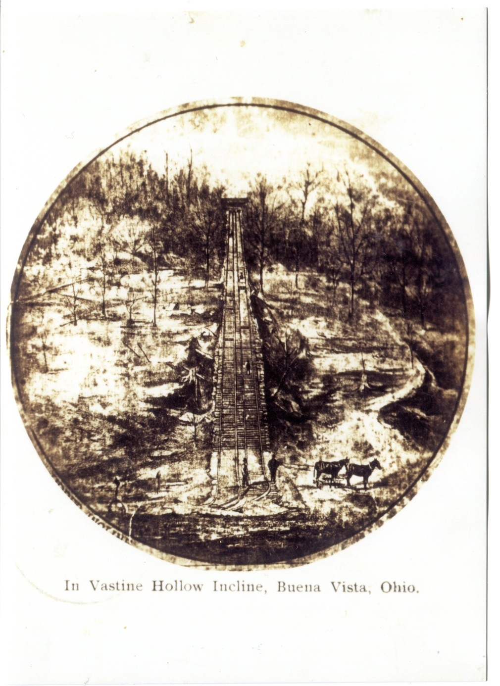One of three inclines that once operated in Vastine Hollow, bringing quarried stone down from the ridge-side benches to the tram road, upon which the stone was then transported to Buena Vista and the Ohio River.