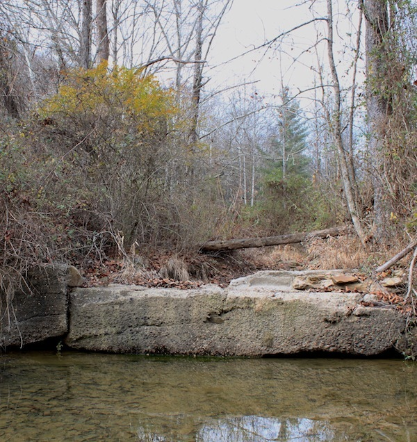 Ruins of small dam on Harbor Fork, near the site of the Old Roosevelt Game Preserve Headquarters, Shawnee State Forest, Scioto County, Ohio (20 November 2012).
