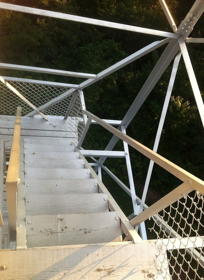 Stairs, Copperhead Fire Tower, Shawnee State Forest, Scioto County, Ohio (2013).