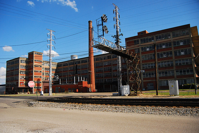Excelsior Shoes Smokestack and the Mitchellace Factory, Portsmouth, Ohio (2008).