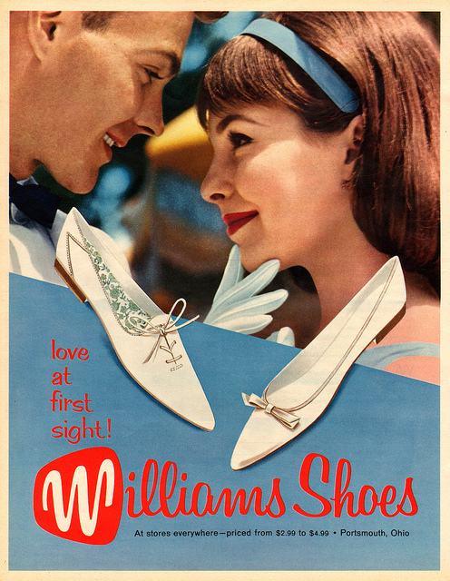 """Love at first sight!"" Williams Shoes advertisement (c. 1960)."