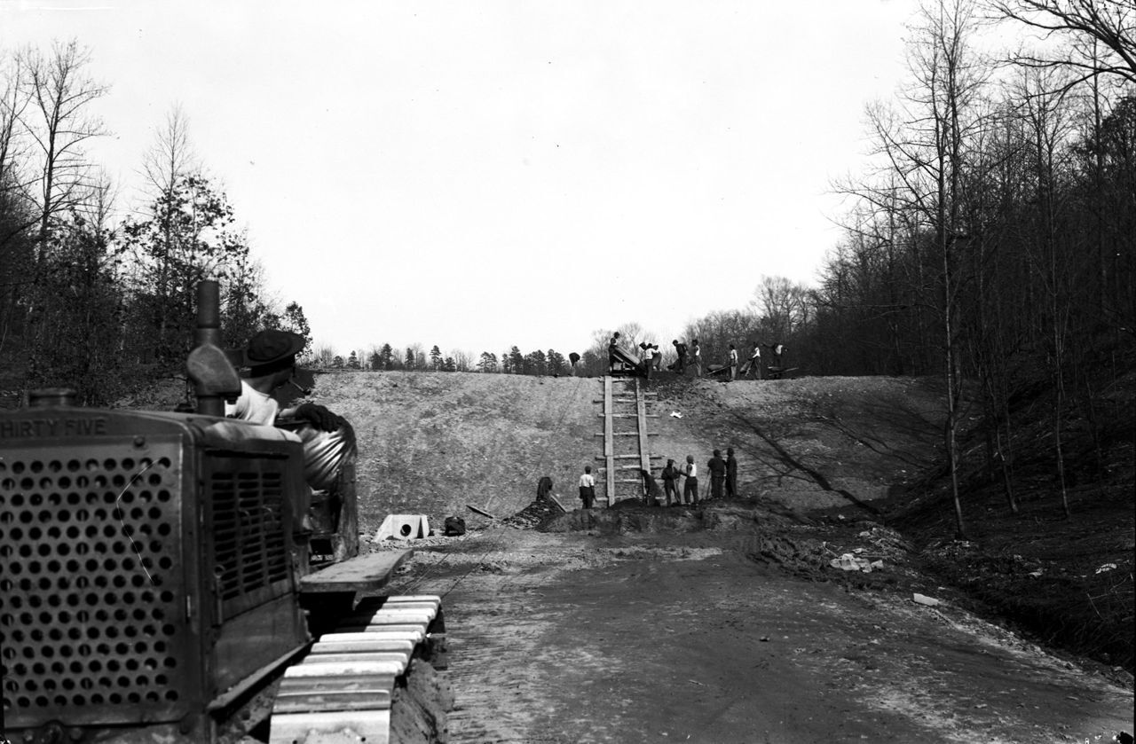 Construction of the Churn Creek Reservoir Dam (c. 1934)