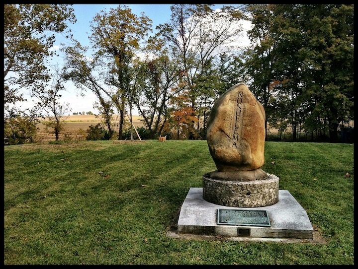 Nohelema Monument, Logan Elm State Memorial, Pickaway County, Ohio (30 September 2012).