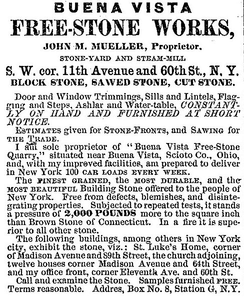 Buena Vista Freestone Advertisement in the New York City Real Estate Record (14 February 1874).