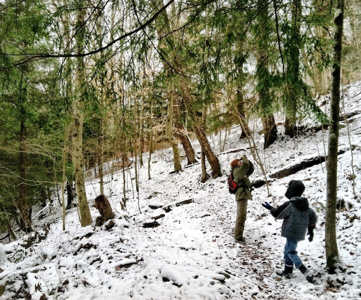 State Park Naturalist Jenny Richards leads a hike on the Harry Knighton Trail, Shawnee State Park, Scioto County, Ohio (December 2012).