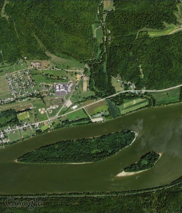 Satellite view of the Manchester Islands #1 and #2, Ohio River Islands Wildlife Refuge, via Google Maps (2012).