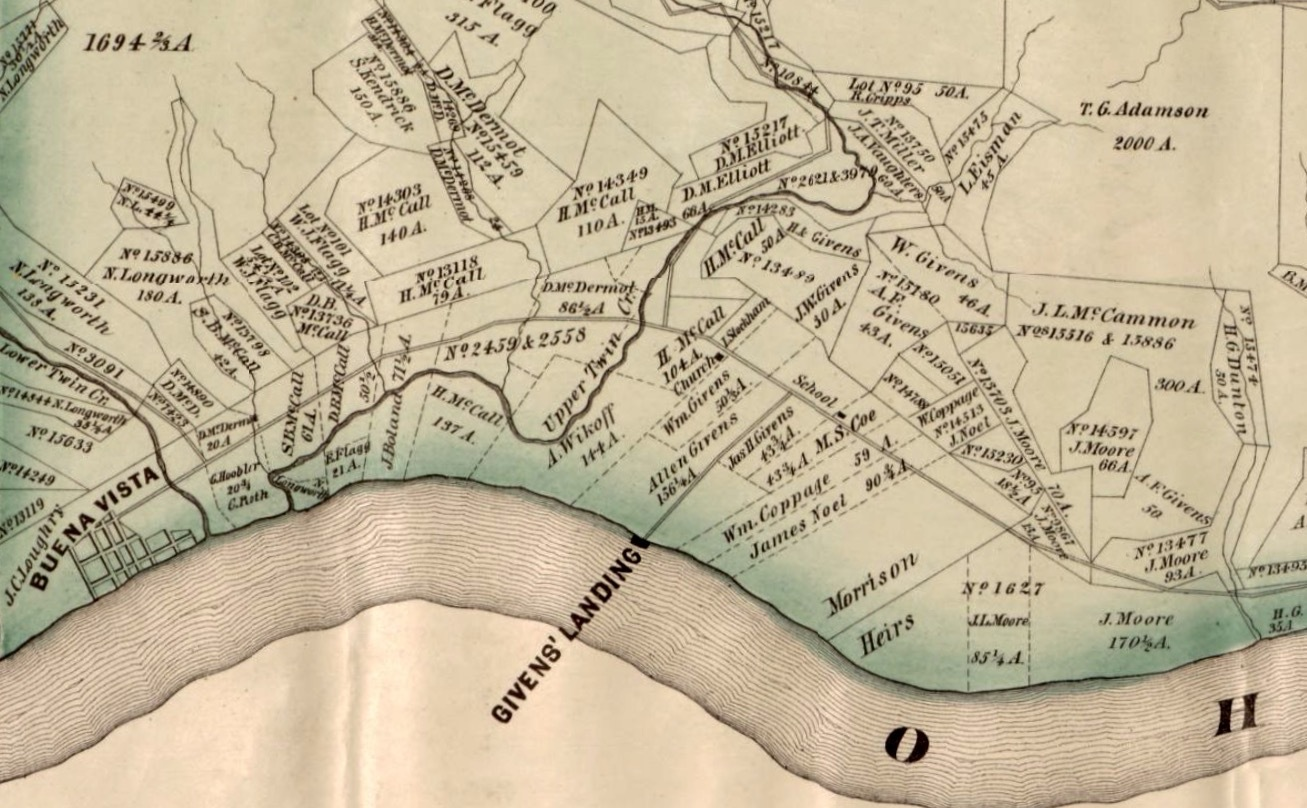 Map of Givens' Landing, Nile Township, Scioto County, Ohio.