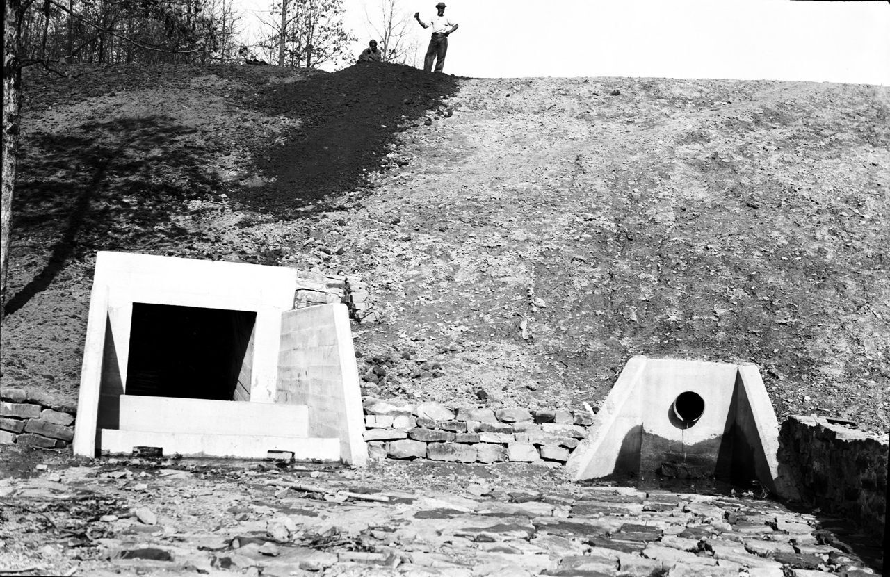 Construction of Churn Creek Reservoir Dam, Shawnee State Forest, Adams County, Ohio (c. 1934).