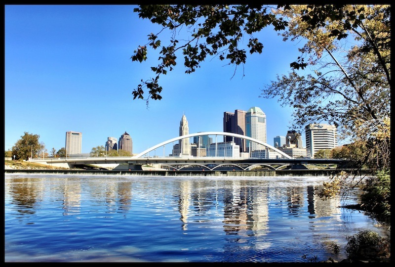View of Columbus from the eastern bank of the Scioto River (2012).