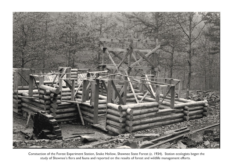 Construction of the Forest Experiment Station in Snake Hollow, Shawnee State Forest, Scioto County, Ohio (c. 1934).