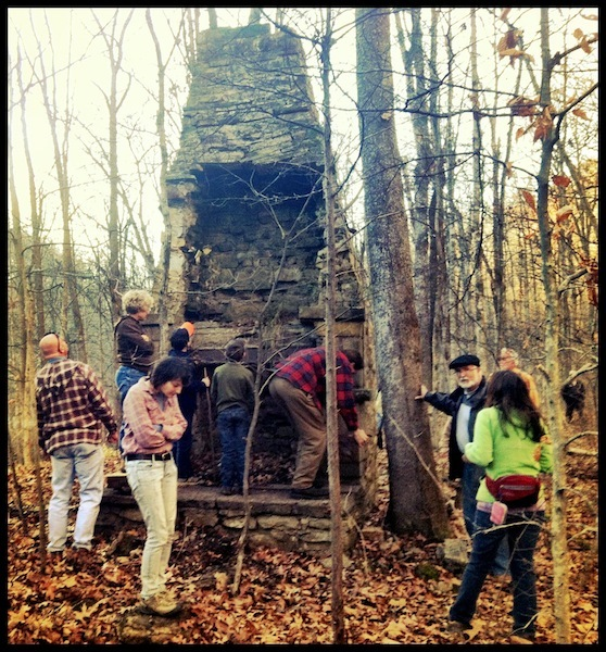 Shawnee State Park visitors explore the ruins of CCC Camp Gordon (2012).