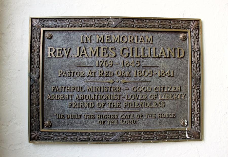 Memorial to Rev. James Gilliland, Red Oak Presbyterian Church, Brown County, Ohio (3 August 2012).