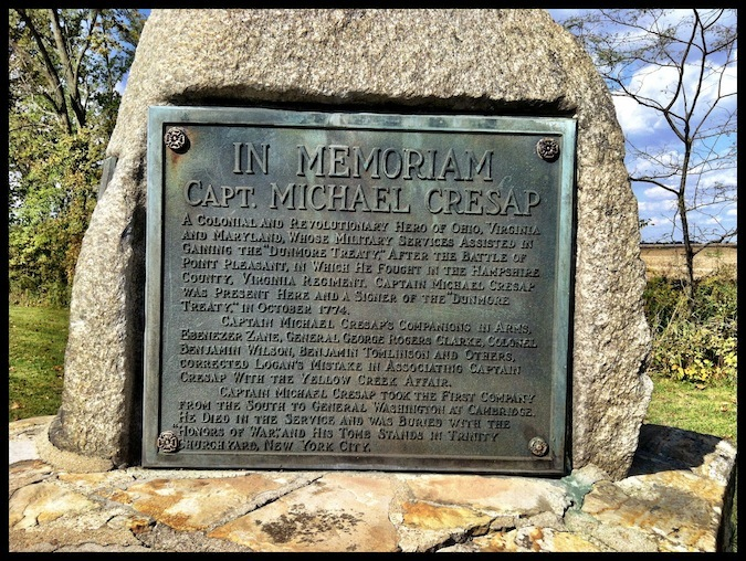 Michael Cresap Tablet & Memorial, Logan Elm State Memorial, Pickaway County, Ohio (30 September 2012).