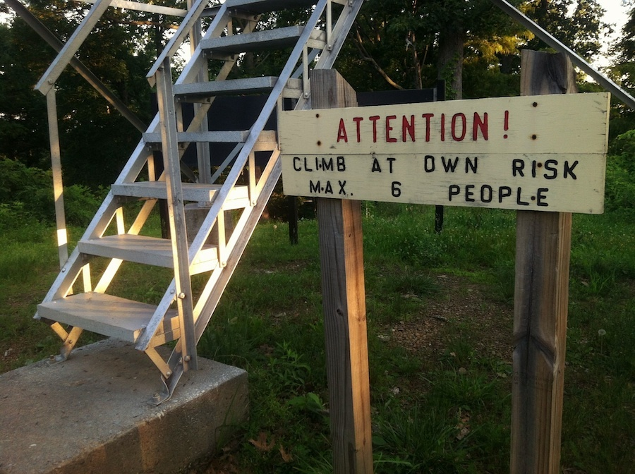 """""""ATTENTION! CLIMB AT OWN RISK,"""" Copperhead Fire Tower, Shawnee State Forest, Scioto County, Ohio (2013)"""
