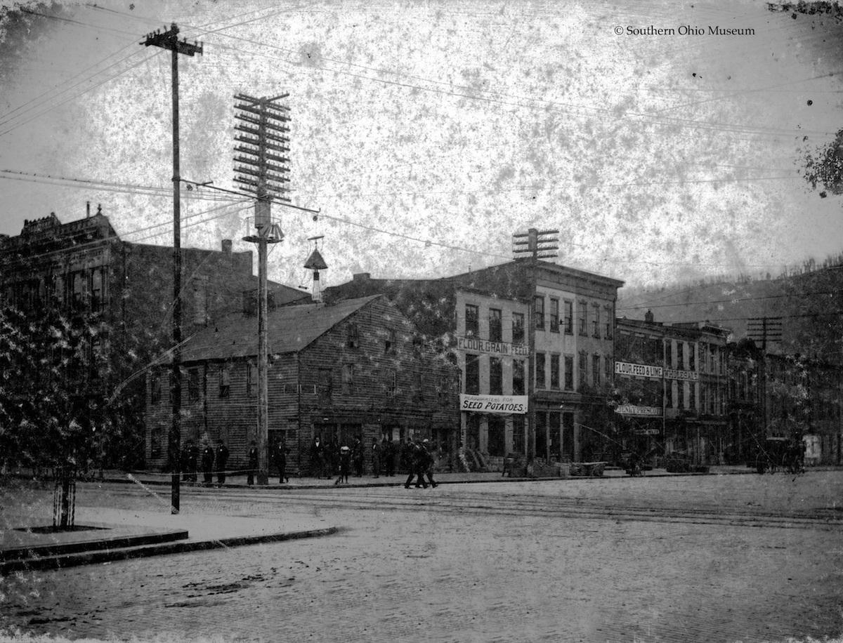 View of Micklethwait Corner, location of  James Ashley&#039;s Printshop, Second and Market Streets, Portsmouth, Ohio (c. 1890).<br />