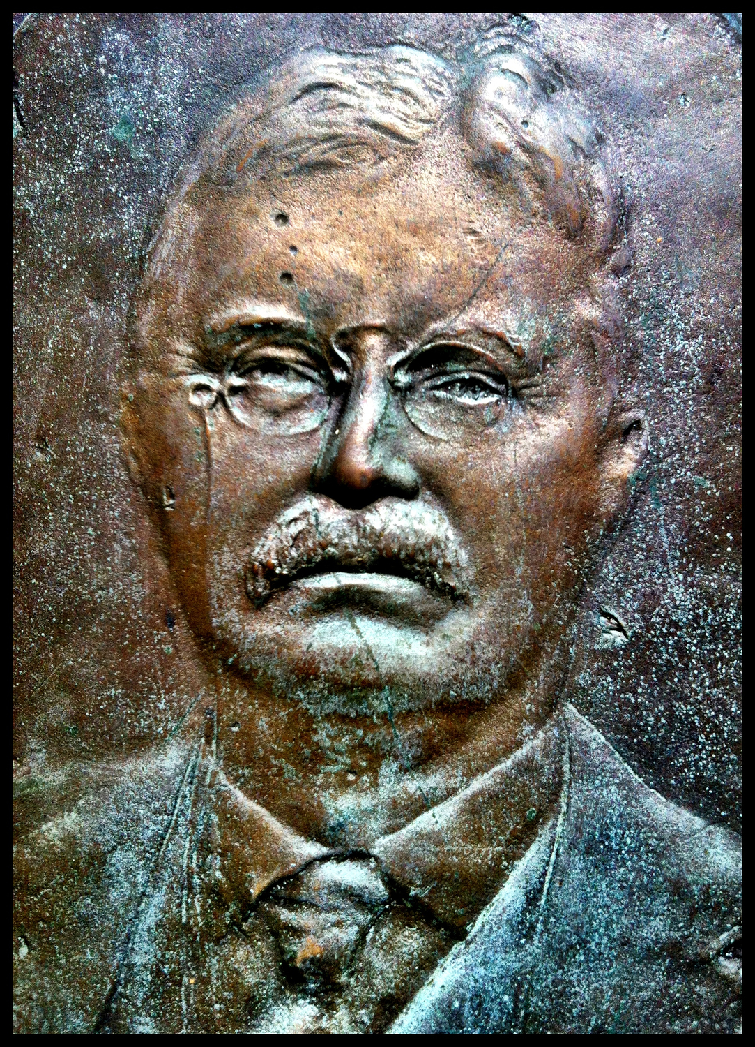 Theodore Roosevelt, detail from the Theodore Roosevelt Preserve Dedication Memorial, Shawnee State Park, Scioto County, Ohio (2012).