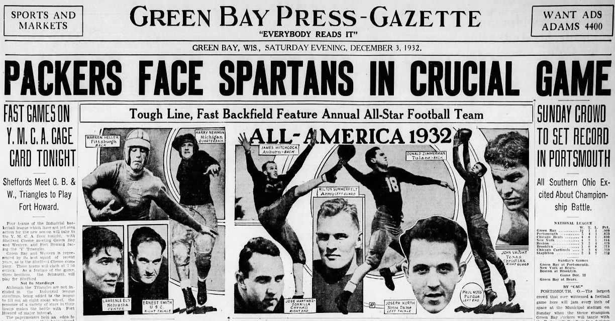 """Packers Face Spartans in Crucial Game: Sunday Crowd to Set Record in Portsmouth. All Southern Ohio Excited about Championship Battle."""