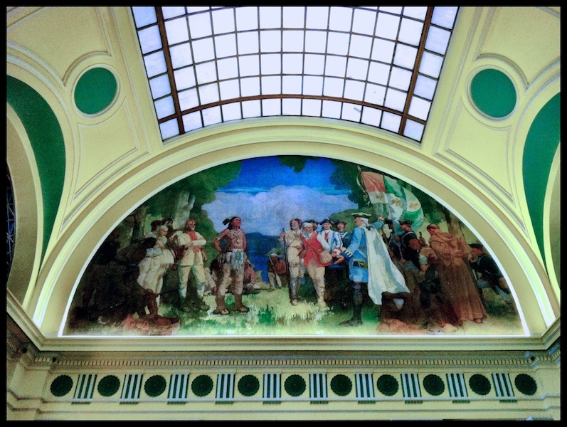 """Herman H. Wessel's mural, """"Under the Banner of France"""" (1927)."""