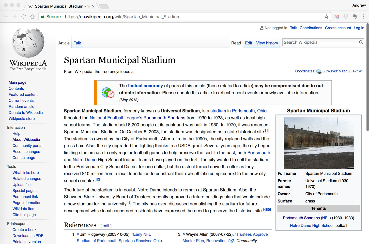 """Screenshot of the Wikipedia entry for """"Spartan Municipal Stadium,"""" as updated to March 5th, 2017."""